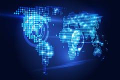 Prospettiva di tecnologia della mappa di mondo Immagini Stock Libere da Diritti