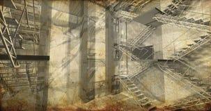 Prospettiva. Interno industriale moderno, scale, spazio pulito dentro fotografia stock