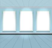 Prospettiva vuota della stanza di colore del cielo blu con il blocco per grafici 3 immagine stock
