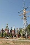 Prossimità della cattedrale di Kazan a Volgograd con una torre per il livello Immagini Stock Libere da Diritti