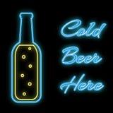 Prosta abstrakcjonistyczna neonowa jaskrawa jarzy się błękitna rozblaskowa ikona, signboard dla baru od piwnej butelki z wpisowym ilustracja wektor