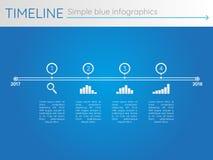 Prosta błękitna linia czasu 26, infographics wektor royalty ilustracja