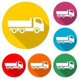 Prosta ciężarowa ikona, ciężarowy symbol, kolor ikona z długim cieniem Zdjęcia Stock