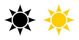 Prosta czarna i żółta słońce ikona Okrąg z sześć trójbokami w p ilustracja wektor