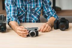 Prosta ekranowa kamery prezentacja na stole Fotografia Stock