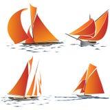Prosta grupa łódź z pomarańczowymi żaglami. Ilustracja Wektor