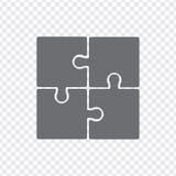 Prosta ikona intryguje w popielatym na przejrzystym tle Prosta ikony łamigłówka cztery elementu Zdjęcia Royalty Free