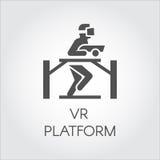 Prosta ikona w płaskim projekcie technologia przyrządu gry rzeczywistość wirtualna Wektorowy logo mężczyzna w VR hełma hazardzie  Zdjęcie Royalty Free