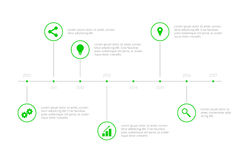 Prosta Infographic linia czasu - zieleń Obrazy Stock