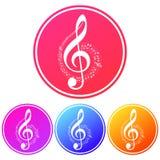 Prosta, kółkowa muzyka, zauważa ikonę Kolorowi gradienty cztery różnice ilustracji