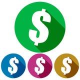 Prosta, kółkowa, płaska dolarowego znaka ikona, Pakować cień Cztery kolor różnicy ilustracja wektor