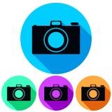 Prosta, kółkowa, płaska kamery ikony sylwetka, Cztery kolor różnicy Ciskać cień Odizolowywający na bielu royalty ilustracja