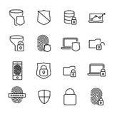 Prosta kolekcja internet ochrona odnosić sie kreskowe ikony ilustracja wektor