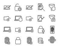 Prosta kolekcja internet ochrona odnosić sie kreskowe ikony ilustracji