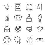 Prosta kolekcja plaże odnosić sie kreskowe ikony ilustracja wektor