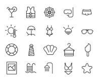 Prosta kolekcja plaże odnosić sie kreskowe ikony royalty ilustracja