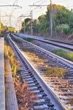 Prosta linia kolejowa Zdjęcie Stock