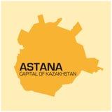 Prosta mapa Kazakhstans kapitału Astana mapa Obraz Royalty Free