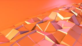 Prosta niska poli- 3D powierzchnia jako fractal środowisko Miękki geometryczny niski poli- ruchu tło przesuwać czyste menchie royalty ilustracja