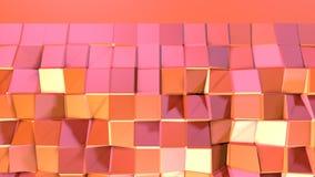 Prosta niska poli- 3D powierzchnia jako futurystyczna ulga Miękki geometryczny niski poli- ruchu tło przesuwać czystej różowej po ilustracja wektor