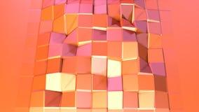 Prosta niska poli- 3D powierzchnia jako krystaliczna siatka Miękki geometryczny niski poli- ruchu tło przesuwać czystą różową pom royalty ilustracja