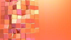 Prosta niska poli- 3D powierzchnia jako olśniewający środowisko Miękki geometryczny niski poli- ruchu tło przesuwać czyste menchi royalty ilustracja