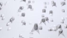 Prosta niska poli- 3D powierzchnia jako piękny tło Miękki geometryczny niski poli- tło czystego bielu popielaci wieloboki 4K ilustracji