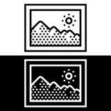 Prosta, płaska, czarny i biały obrazek ramy ikona, ilustracja wektor