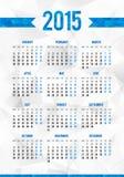 Prosta 2015 rok europejczyka kalendarza siatka Fotografia Stock