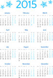 Prosta 2015 rok europejczyka kalendarza siatka Obrazy Stock