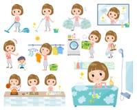 Prosta uderzenie włosy menchii bluzka women_Housekeeping ilustracja wektor