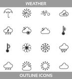 Prosta Ustalona ofpogoda Odnosić sie Wektorowe Lineikony Zawierasłońce, chmurę, burzę, śnieg, wiatr, deszcz i więcej suchI ilustracja wektor