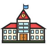 Prosta Wektorowa ikona budynek szkoły w mieszkanie stylu Piksel Perfect Podstawowe wykształcenie element royalty ilustracja