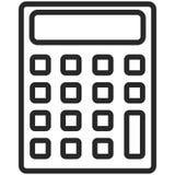 Prosta Wektorowa ikona klasyczny kalkulator w kreskowej sztuki stylu Piksel Perfect Podstawowe wykształcenie element royalty ilustracja