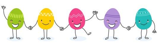 Prosta wektorowa ilustracja pięć kolorowych płaskich projekta Easter jajek, postać z kreskówki trzyma ręki Obrazy Royalty Free
