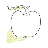 prosta wolnej ręki jabłczana rysunkowa ikona ilustracja wektor