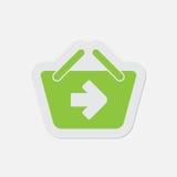 Prosta zielona ikona - zakupy kosz następnie Zdjęcia Royalty Free