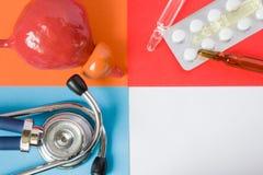 Prostata di sanità o medica di progetto di concetto dell'foto-organo, stetoscopio medico diagnostico dello strumento e pillole de immagine stock libera da diritti