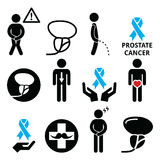Prostate cancer awareness, mens health icons set Royalty Free Stock Photography