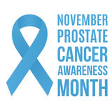Prostate cancer awareness. Poster. Blue ribbon. Vector, isolated eps 10 Royalty Free Stock Image