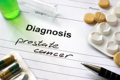 Prostate cancer. Diagnosis prostate cancer written in the diagnostic form and pills stock photography
