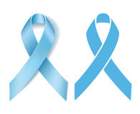 Prostate cancer ribbon awareness. Disease symbol. Realistic Light blue ribbon and Silhouette Light blue ribbon isolated on white background. Vector Royalty Free Stock Photos