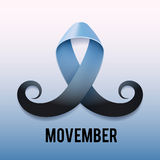 Prostate cancer ribbon awareness. Light blue ribbon with mustache. Vector illustration Royalty Free Stock Image