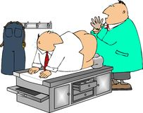 Prostate Exam. This illustration depicts a man getting a prostate exam Stock Photo