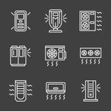 Proste białej linii powietrza conditioners ikony royalty ilustracja