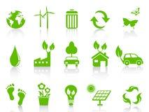 Proste zielone eco ikony ustawiać royalty ilustracja