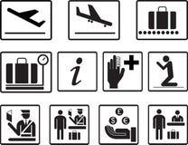 Prostego lotniska ikon wektoru 2d set Ogólnoludzkie lotniskowe ikony używać dla informacji, linia lotnicza, odjazd, przyjazd, lot ilustracja wektor