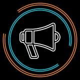 Prostego megafonu głośnika Cienka Kreskowa Wektorowa ikona ilustracji