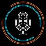Prostego mikrofonu Cienka Kreskowa Wektorowa ikona royalty ilustracja