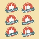 Prostego rocznika odznaki Najlepszy Wyborowy set Fotografia Stock